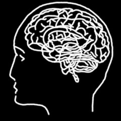 Linear stylized drawing of brain in white on a black background