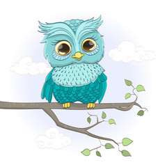 cartoon baby owl sitting on a branch. vector illustration
