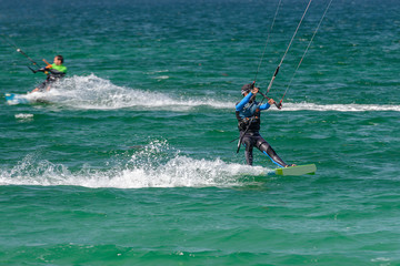 kite surfing in the ocean