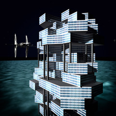 futuristic city with the modern skyscraper 3D rendering