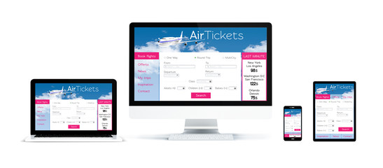 Wall Mural - realistic devices isolated with air tickets website