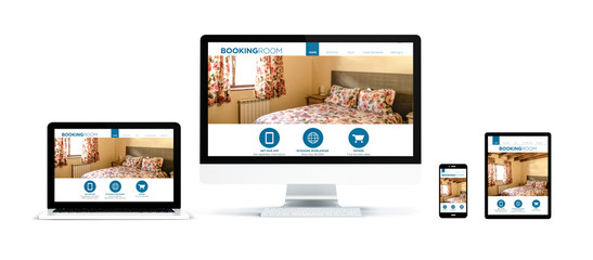 Wall Mural - realistic devices isolated with booking room website