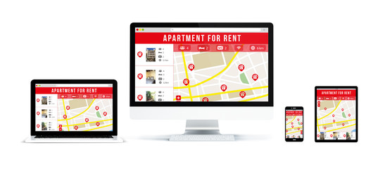 realistic devices isolated with apartment for rent website