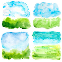 set of watercolor sky and grass landscapes abstract backgrounds