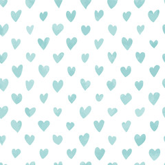 Seamless hand drawn hearts pattern in blue watercolor effect. Perfect for background, fabrics, clothing, websites.