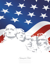 Mount Rushmore USA flag background