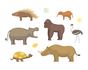 African animals cartoon vector set