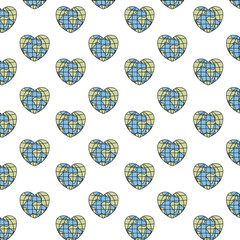 colorful silhouette pattern globes earth world in heart shape vector illustration