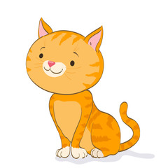 funny little cat sitting and looking. red tabby kitten. cartoon vector illustration