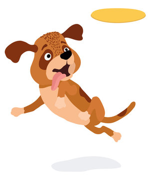cartoon dog playing with yellow plastic disc. vector illustration