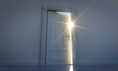Sonnenstrahlen im Türspalt