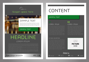 Vector flyer, corporate business, annual report, brochure design and cover presentation in grey and green color.