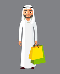 Arab business man with shopping bag vector cartoon illustration