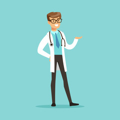 Cheerful male doctor character standing vector Illustration