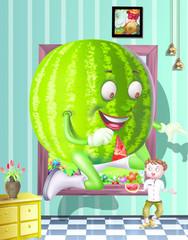 cartoon of a watermelon