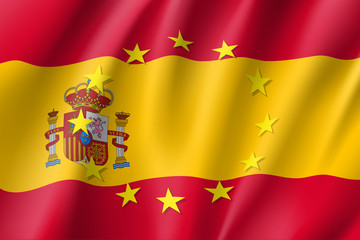 Spain national flag with a circle of European Union twelve gold stars, solidarity and harmony with EU, member since 1 January 1986. Realistic vector style illustration