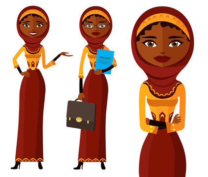 Smiling arab office woman presents something vector.
