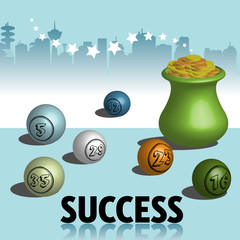 Abstract colorful background with a golden pot and lucky lottery numbers. Success concept