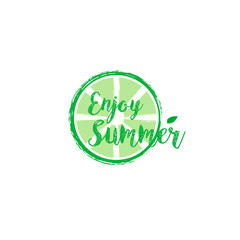Summer card with hand drawn brush lettering. Summer background with calligraphic design elements, vector illustration. Summer holidays poster.