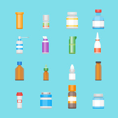 Cartoon Medicine Bottles for Drugs Color Icons Set. Vector