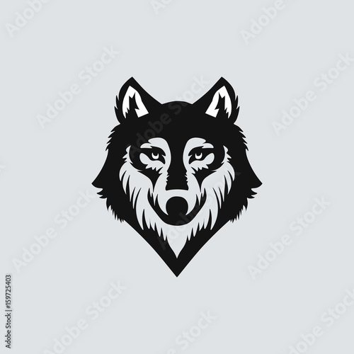 wolf head black silhouette on solid background vector illustration
