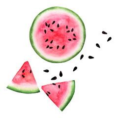 Sliced of red pink eco watercolor watermelon and seed isolated on white background. Exotic menu fruit card isolated