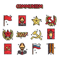 Communism cartoon concept icons