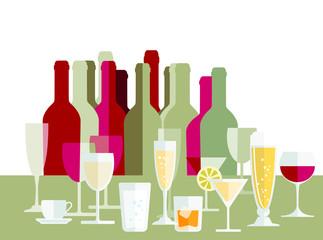 Getränke, wein, Champagner, Flaschen, Gläser