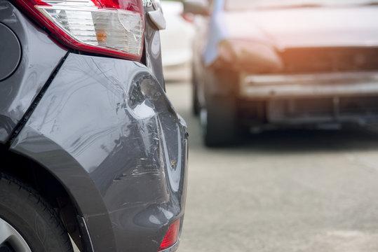 Close up car crash accident