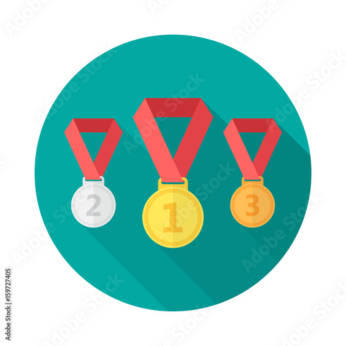 Medals circle icon with long shadow  Flat design style