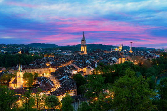 Bern. Image of Bern, capital city of Switzerland, during dramatic sunset.
