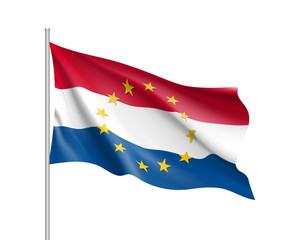 The Netherlands national waving flag with a circle of European Union twelve gold stars, solidarity and harmony with EU, member since 1 January 1958. Realistic vector illustration