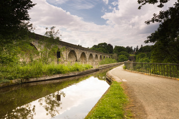 Chirk Aqueduct and Viaduct crossing the Ceiriog Valley in Wales