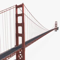 In de dag Brug Golden Gate Bridge on white. 3D illustration