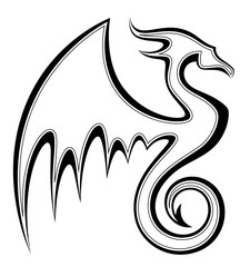 Stylized black dragon on a white background