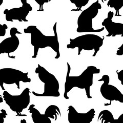 seamless pattern pets silhouette - vector illustration hand drawn with black lines, isolated on white background