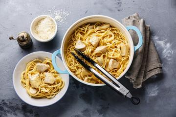 Spaghetti Pasta Alfredo Cheese with white chicken meat