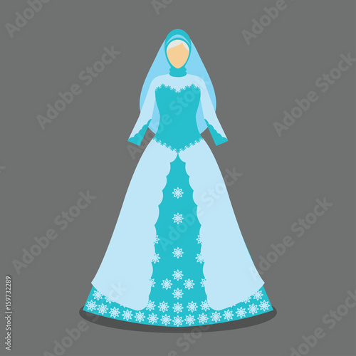 538128432a islamic wedding dress for the muslim bride in modern styles. vector  illustration