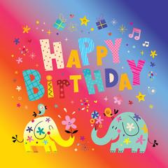 Happy birthday greeting card with cute elephants