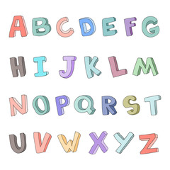 Vector hand-drawn children's alphabet. 3D doodle letters. ABC font for kids.