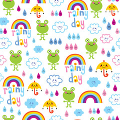 rainy day seamless pattern with cute frogs