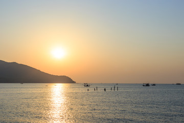 beautiful sunset on the sea at Thailand seascape