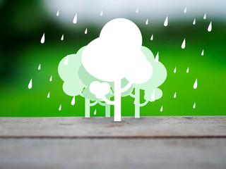 tree and rain eco concept