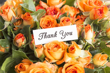 Thank You Card with Bouquet of Orange Roses