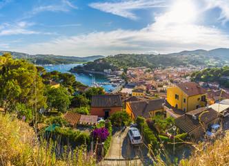 Wall Mural - Panoramic view over Harbor and village Porto Azzurro, Elba islands, Tuscany, Italy