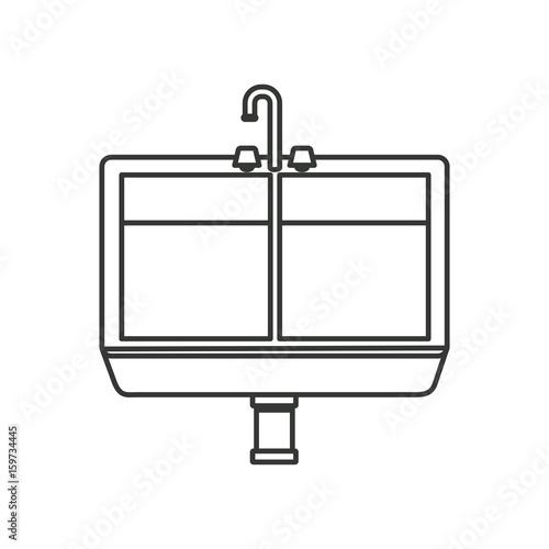 Enjoyable Monochrome Silhouette Of Kitchen Sink Vector Illustration Home Interior And Landscaping Spoatsignezvosmurscom