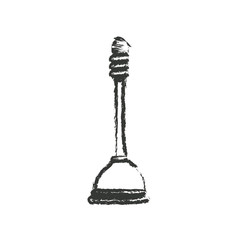 monochrome blurred silhouette of toilet plunger icon vector illustration