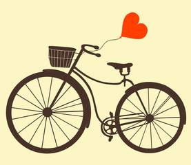 Retro bike with balloons heart isolated on white background.