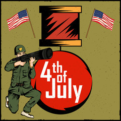 Army man on 4th of July Happy Independence Day America background
