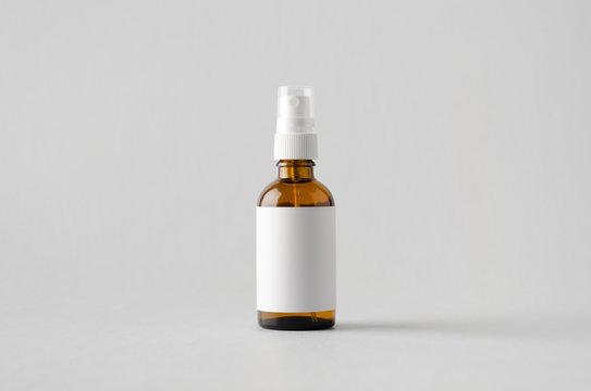 Amber Spray Bottle Mock-Up - Blank Label